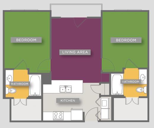 771 sq. ft. B1C floor plan