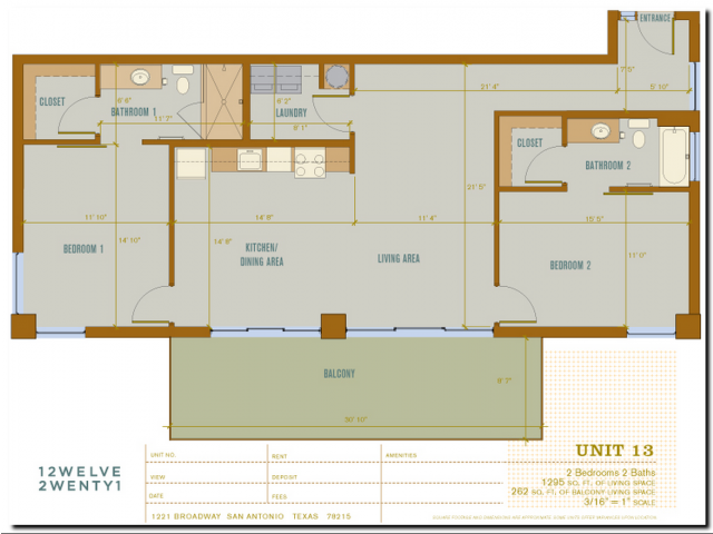 1,295 sq. ft. 2B13 floor plan