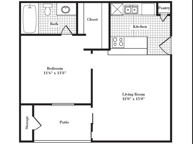 508 sq. ft. A1 III floor plan