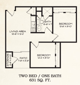 631 sq. ft. floor plan