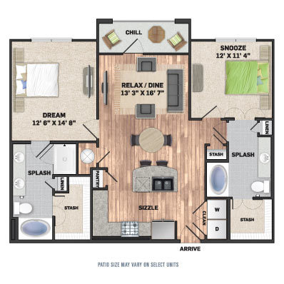 1,170 sq. ft. B1.1 floor plan