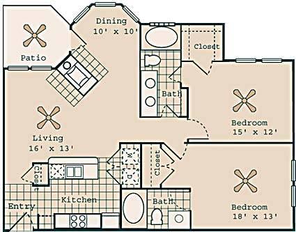 1,142 sq. ft. Fitzgerald floor plan