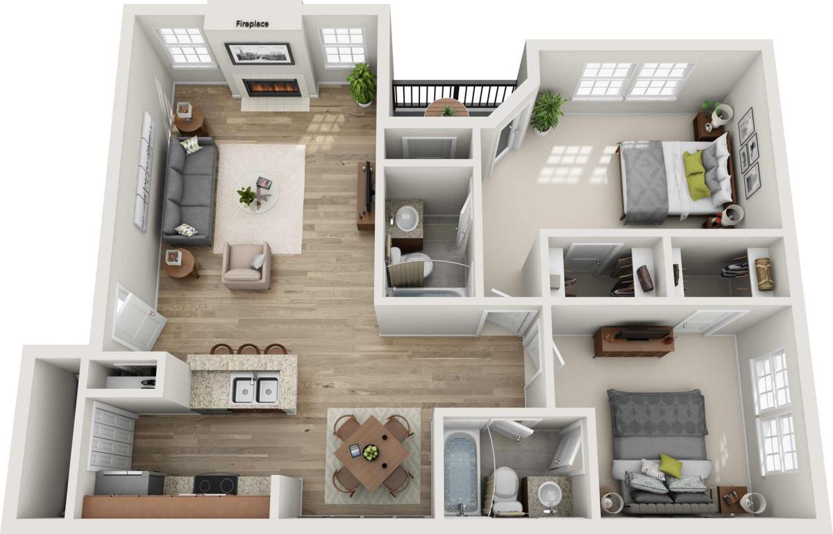 1,128 sq. ft. H floor plan
