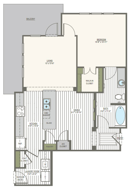 935 sq. ft. 1F floor plan
