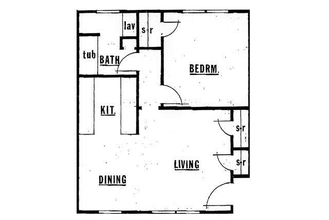 684 sq. ft. 60% floor plan