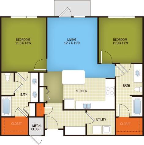 1,116 sq. ft. Hancock - B1B floor plan