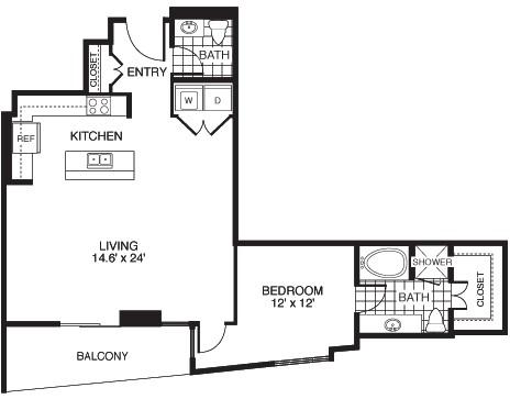1,035 sq. ft. D3A/TOWER floor plan