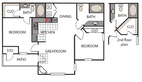 984 sq. ft. Montage floor plan