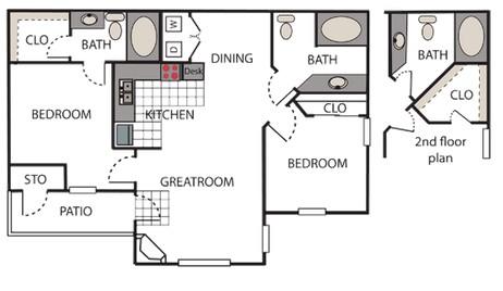 984 sq. ft. Montage floor plan
