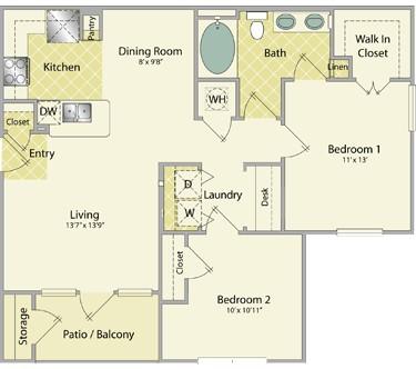 940 sq. ft. Gleneagles floor plan