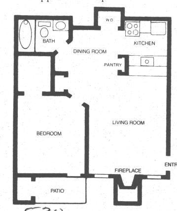 558 sq. ft. Winchester floor plan