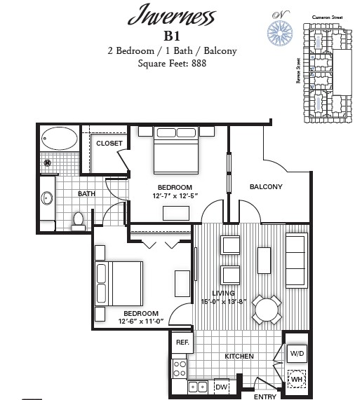 888 sq. ft. INVERNESS floor plan