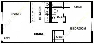 705 sq. ft. Cedar floor plan