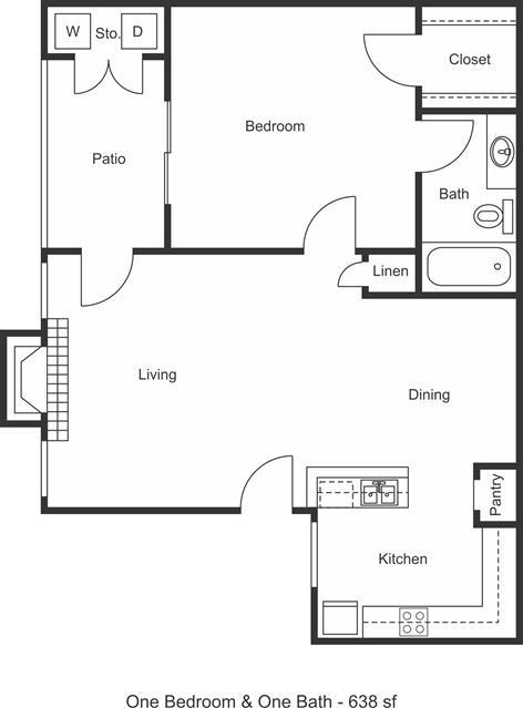 638 sq. ft. floor plan