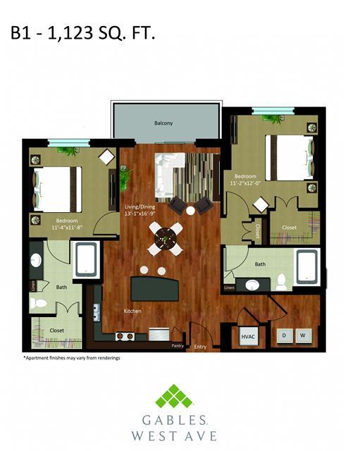 1,123 sq. ft. DB1 floor plan