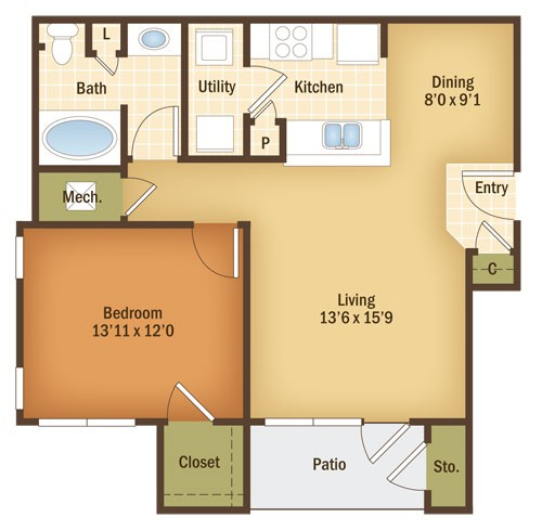 797 sq. ft. LAUREL floor plan