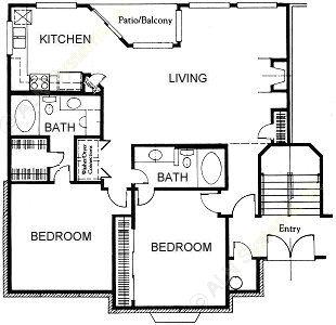 1,133 sq. ft. C1 floor plan