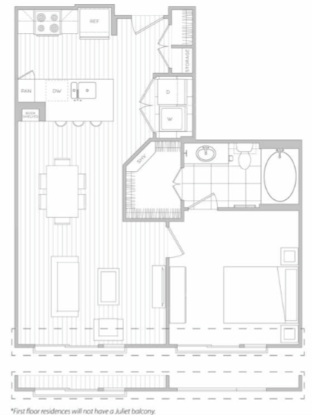 724 sq. ft. E floor plan