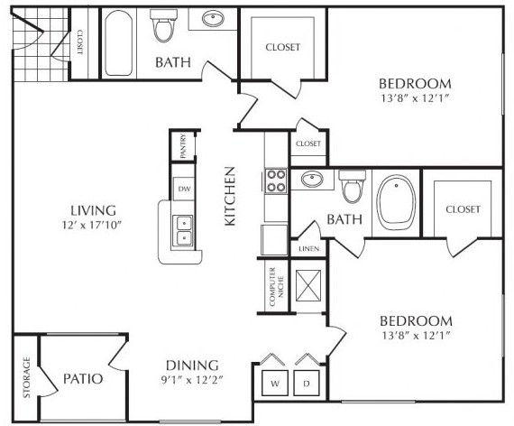 1,206 sq. ft. E floor plan