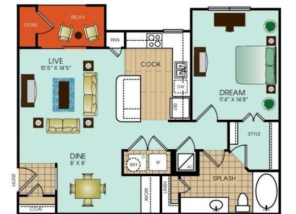 817 sq. ft. A14 floor plan