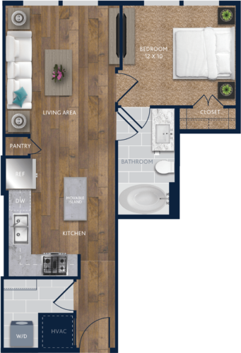 620 sq. ft. A3 floor plan