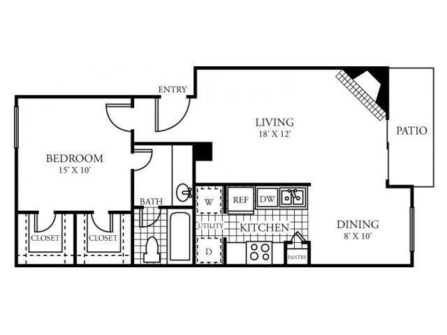 723 sq. ft. D floor plan