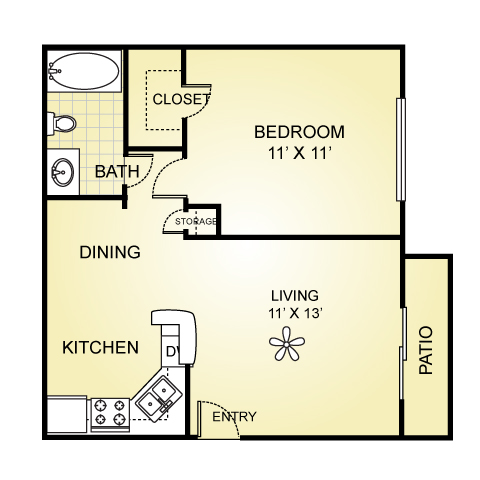 577 sq. ft. A-2 floor plan