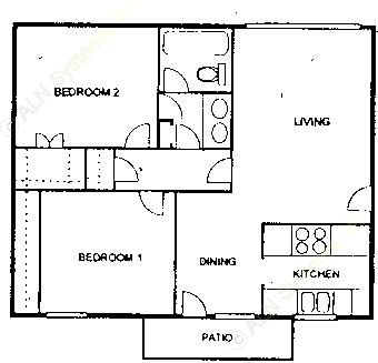 896 sq. ft. A floor plan