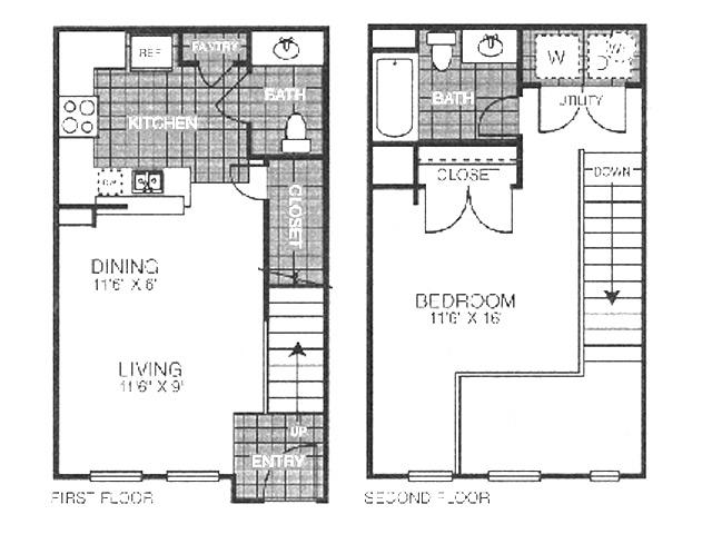 635 sq. ft. SA1/60 floor plan