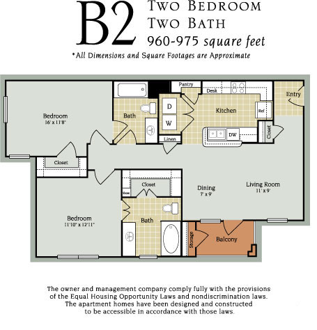 960 sq. ft. to 975 sq. ft. B2 60% floor plan