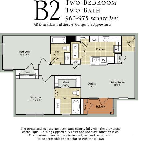 960 sq. ft. B2 60% floor plan