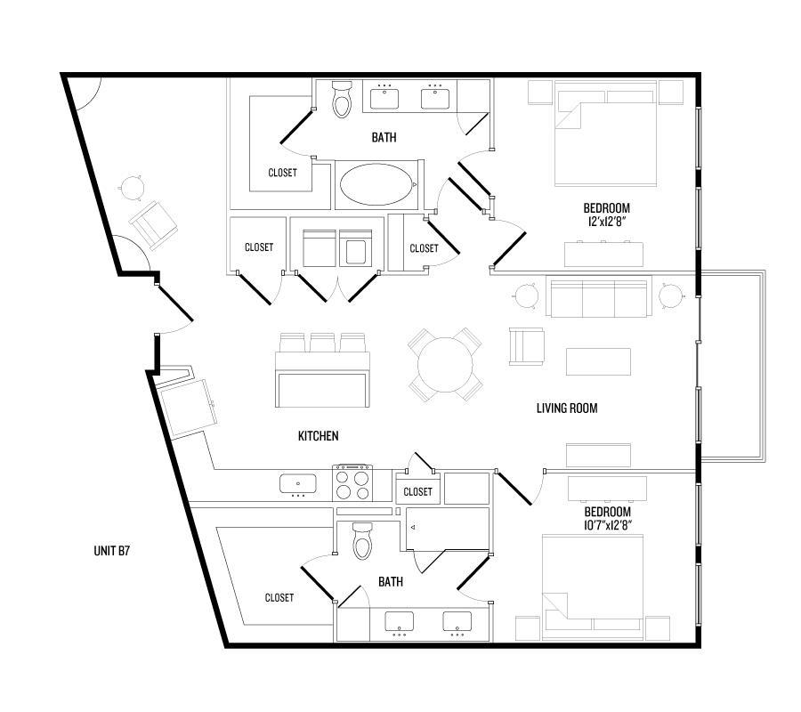 1,265 sq. ft. B7 floor plan