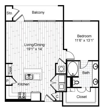 877 sq. ft. A6 floor plan