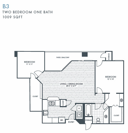 1,009 sq. ft. B3 floor plan