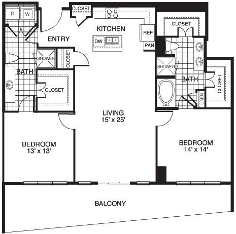 1,433 sq. ft. B9/TOWER floor plan