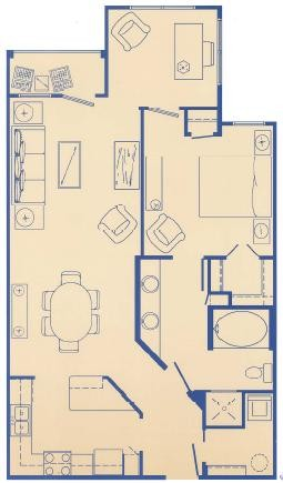 877 sq. ft. C floor plan
