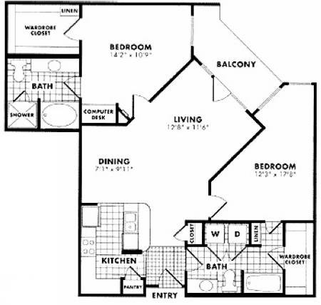 1,171 sq. ft. to 1,176 sq. ft. Moser floor plan