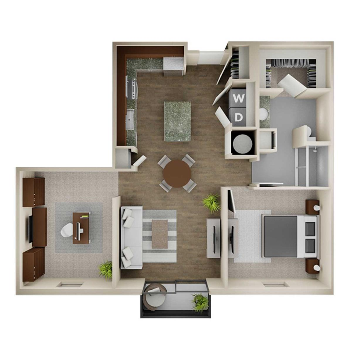 970 sq. ft. 1B Alt floor plan