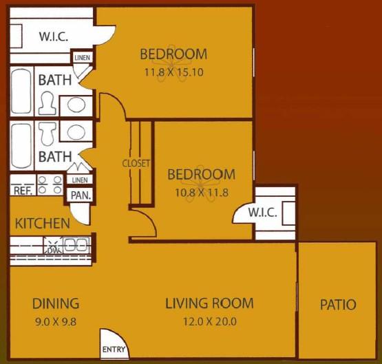 1,019 sq. ft. OAK floor plan