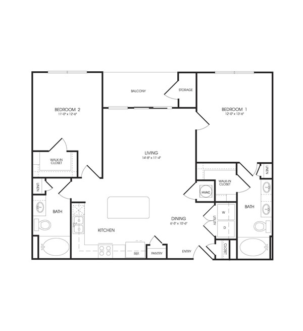 1,107 sq. ft. Maison floor plan
