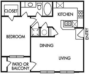 759 sq. ft. B floor plan