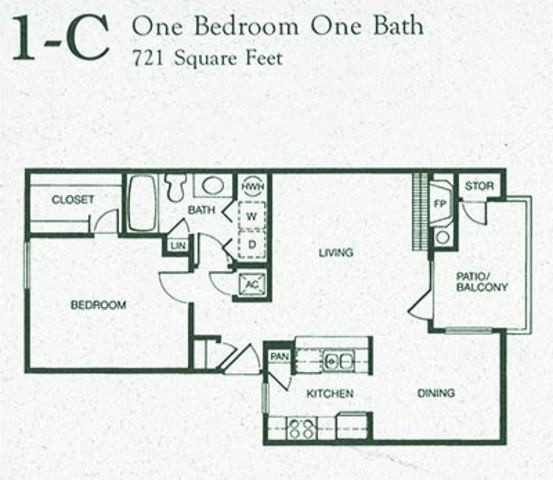 721 sq. ft. 1C floor plan