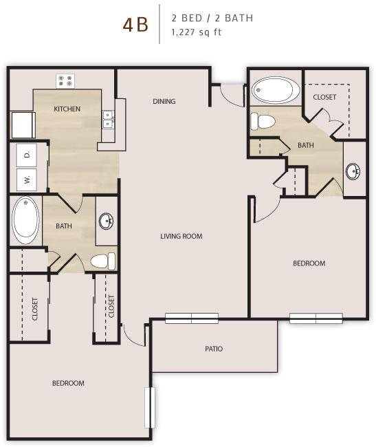 1,227 sq. ft. D4 floor plan