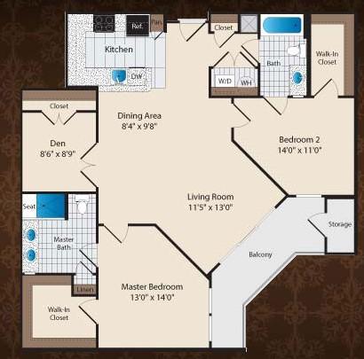 1,223 sq. ft. DE/Magnolia floor plan