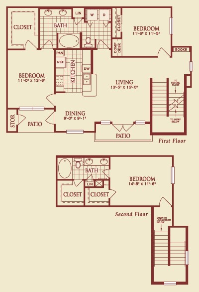 1,480 sq. ft. C2.2 floor plan