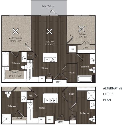 875 sq. ft. B1/Aspire/50% floor plan