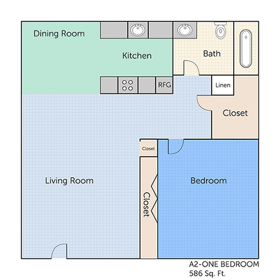 586 sq. ft. A2 floor plan