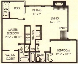 910 sq. ft. Birch floor plan