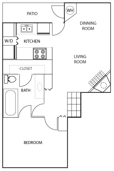 748 sq. ft. A1 floor plan