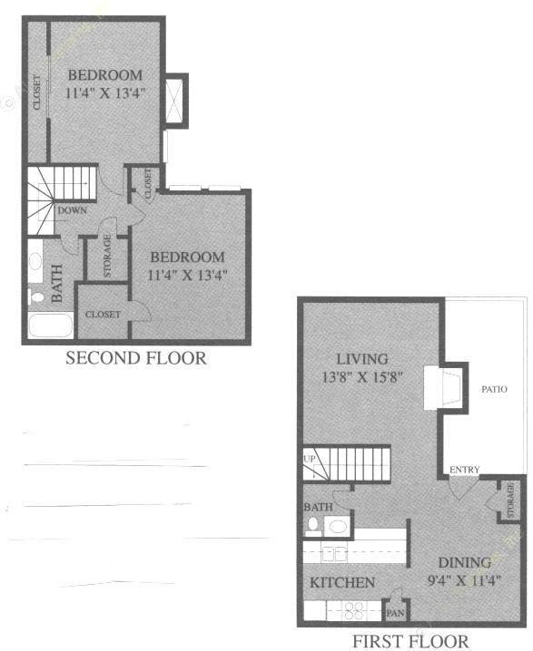 1,107 sq. ft. B3 floor plan